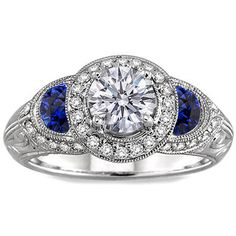 Engagement Ring - Round Diamond Halo Engagement ring Blue sapphire... by None, via Polyvore
