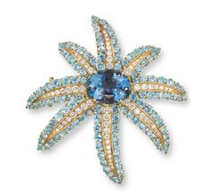 AN AQUAMARINE AND DIAMOND 'FIREWORKS' BROOCH, BY TIFFANY & CO. - Christie's