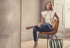 Karen Millen Super Frill Shirt, Mid Wash Stretch Jeans, Suede and Mesh Boot and Stripe Bucket Bag