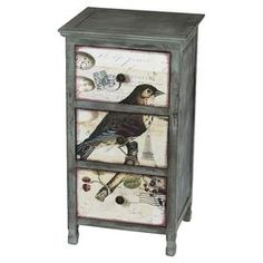 "Three-drawer wood side table with a bird motif.    Product: Side tableConstruction Material: WoodColor: Multi Features: Three drawersDimensions: 29.5"" H x 16"" W x 13"" DCleaning and Care: Wipe clean with a dry cloth"