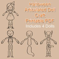 4 Halloween Articulated Doll Craft Printable PDF by Galactytes
