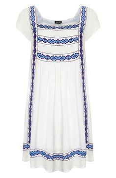 Embroidered smock dress.
