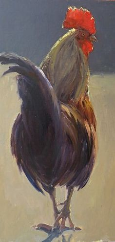 Strut - Chicken rooster painting by Kathleen Dunphy - Oil ~ 20 x 10
