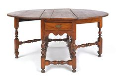 Pennsylvania William and Mary gate-leg dining table, ca. 1730, 29 H. x 20.5 W. x 54 D.