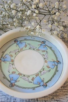 Vintage 1910 Hand Painted Baby Girl Dinner Plate by chiffonier