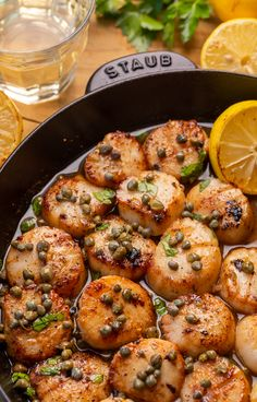 Pan Seared Scallops with Lemon Caper Sauce - Baker by Nature