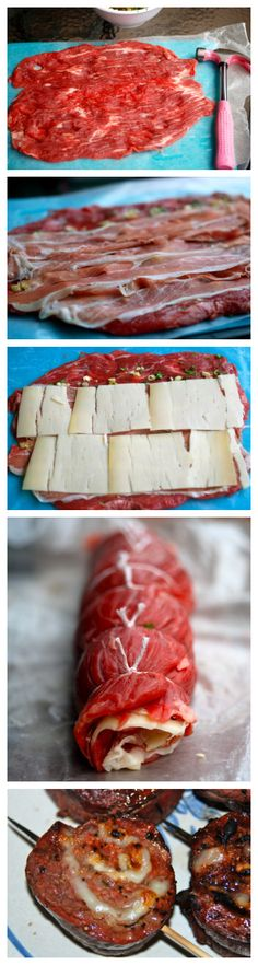 Nutritious Snack Tips For Equally Young Ones And Adults Grilled Stuffed Flank Steak - Great To Do Ahead N Freeze Then Just Pull Out For Dinner Grilling Recipes, Meat Recipes, Cooking Recipes, Oven Recipes, Fondue Recipes, Kabob Recipes, Vegetarian Grilling, Healthy Grilling, Barbecue Recipes