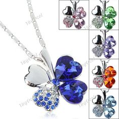 (INFIERA) Fashionable Four Leaf Clover Design Necklace Chain Neck Ornament with Artificial Crystal for Girl Woman NAF-102334 http://www.tinydeal.com/infiera-px250pz-p-63709.html