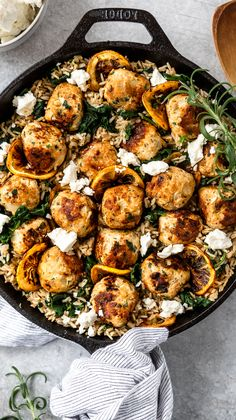 Rosemary Lemon Chicken Meatball Skillet is a one pan flavor packed dish with greek inspired meatballs brown rice spinach tangy feta for an easy simple balanced and comforting meal. Lemon Rosemary Chicken, Cooking Recipes, Healthy Recipes, Carrot Recipes, Lentil Recipes, Spinach Recipes, Sausage Recipes, Kitchen Recipes, Turkey Recipes
