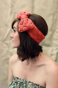 Do you think your friend could make this?  Crocheted head band with bow weaved pattern peach by SadieWade, $12.00