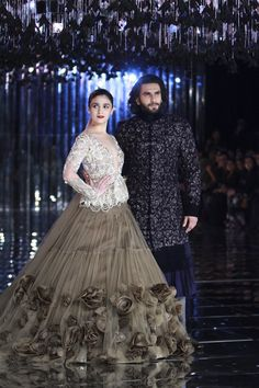 Alia Bhatt and Ranveer Singh left audience awestruck with their mesmerizing ramp walk for Manish Malhotra at the finale of India's India Couture Week (ICW) 2017 in Delhi Call/ WhatsApp for Purchase inqury : Designer Bridal Lehenga, Manish Malhotra Designer Dresses, Manish Malhotra Bridal, Manish Malhotra Designs, Manish Malhotra Lehenga, Indian Lehenga, Lehenga Gown, Anarkali, Indian Wedding Outfits