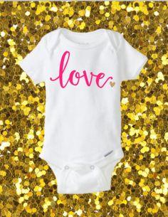 Love Onesie, Valentines Onesie, Cute Onesie, Glitter Onesie, Valentine's Day Onesie, Valentine's Day Outfit by kreationsbychristine on Etsy https://www.etsy.com/listing/260847571/love-onesie-valentines-onesie-cute