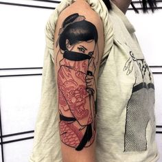 Tattoos on back Red Ink Tattoos, Asian Tattoos, Mini Tattoos, Body Art Tattoos, Sleeve Tattoos, Asian Tattoo Sleeve, Geisha Tattoo Sleeve, Tatoos, Tattoo Sleeves