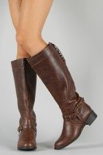 I want these boots soooo bad! Perfect fall/winter boots!! Soda Boss-S Buckle Lace Back Riding Knee High Boot