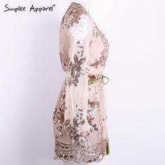 Simplee Apparel Deep V Neck Sequin Jumpsuit Romper-Rompers-Look Love Lust