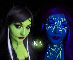 Turn yourself into an electrifying Bride of Frankenstein. | 10 Easy Halloween Costume Ideas Using Only Black Light Makeup