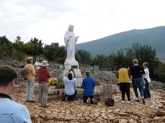 Statue of Virgin Mary at Podbrdo, place of apparition Since when six local children claimed they had seen visions of the Blessed Virgin Mary, Medjugorje has become an unapproved destination of Catholic pilgrimage. Old Irish Blessing, Irish Prayer, Papa Francisco, Santa Sede, Assumption Of Mary, Irish Boys, Pope Francis, Countries Of The World, Pilgrimage