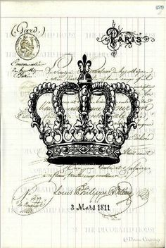 Framed Print - Victorian Vintage French QueenS Crown (Gothic Picture Poster) & Garden Diy Vintage, Images Vintage, Vintage Labels, Vintage Ephemera, Vintage Paper, French Vintage, Decoupage Vintage, Etiquette Vintage, Foto Transfer