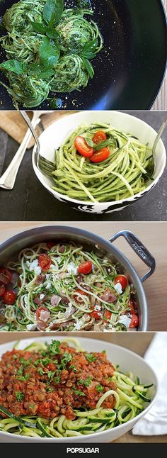 Pin for Later: The Best Zoodle Inspiration For Your Low-Carb Pasta Fix Zucchini Noodle Recipes, Zoodle Recipes, Spiralizer Recipes, Best Zoodle Recipe, Freeze Zucchini, Ramen Recipes, Salad Recipes, Low Carb Recipes, Real Food Recipes