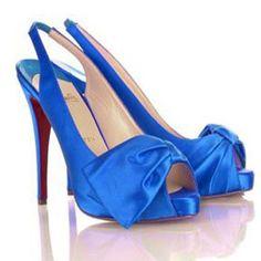 Blue satin shoes