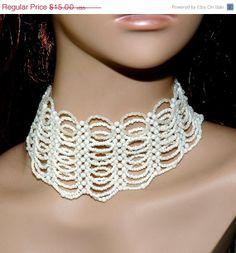 30% OFF SALE Bridal Beaded Choker - White and Ivory Necklace - Bridal Choker Necklace - Wedding Jewelry $10.50 #ocasogifts