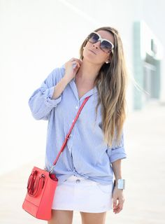 cute crossbody bag and stripes-perfect summer outfit
