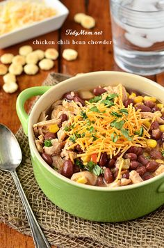 Chicken Chili Bean Chowder is just right for chilly weeknight get-togethers . #recipe at TidyMom.net