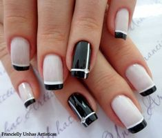 French Nails - Hello my page Hot Nails, Hair And Nails, Gel Nails French, French Manicures, Black French Nails, Trendy Nail Art, Gel Nail Designs, Nails Design, Super Nails