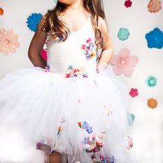 Floral Birthday Party - K&Elphy www.kandelphy.com Handmade Shop, Handmade Items, Girls Dresses, Flower Girl Dresses, 4th Birthday, Wedding Dresses, Floral, Party, Flowers