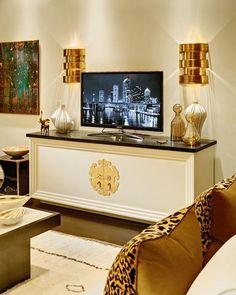 glam gold hardware on white cabinet