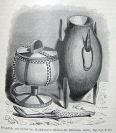 Download: small | large Publication: 1885. Ratzel, Friedrich. Völkerkunde, Vol. I.  Original language: German  Caption translation: Wooden...