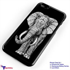 Elephant Ornate Black Aztec - Personalized iPhone 7 Case, iPhone 6/6S Plus, 5 5S SE, 7S Plus, Samsung Galaxy S5 S6 S7 S8 Case, and Other