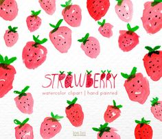 Strawberry Watercolor clipart, strawberries  clipart, pink clip art, fruits, digital clipart, lovely clipart, pink clipart, pattern clipart by BrisaDeOutono on Etsy