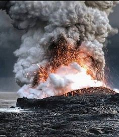 Lava Explodes into the Ocean, Hawaii  , from Iryna