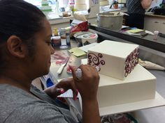 Lauren has a steady hand for scrollwork.