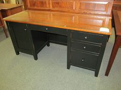 Manchester Credenza Base with Glass Top - eclectic - desks - columbus - Geitgey's Amish Country Furnishings