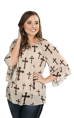 Cowgirl Hardware Women's Cream with Brown Cross Print 3/4 Bell Sleeve Fashion Top | Cavender's