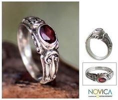 Novica Peridot solitaire ring, Hearts Connected