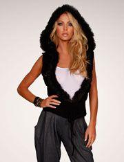 Crop Vest Hoodie With Faux Fur Trim @ FlirtCatalog.com