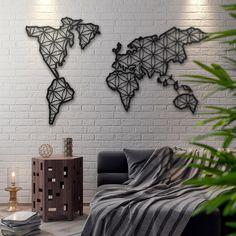"Metal World Map Wall Art - 100cm x 56cm (39.3"" x 22"")"