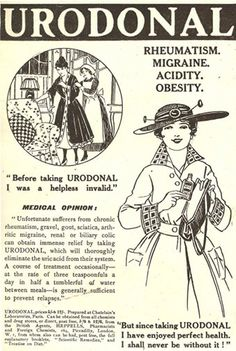 Urodonal vintage medicine ad From helpless invalid to perfect health.rheumatism, migraines, acidity, obesity I was a helpless invalid