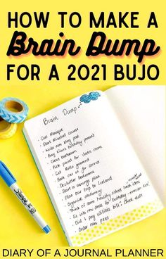 Keep all your ideas together in 2021 with this bullet journal brain dump page idea! #bulletjournal #braindump #bujoideas Bullet Journal Hacks, Bullet Journal Printables, Journal Prompts, Journal Pages, Journal Inspiration, Journal Ideas, Sticker Organization, Daily Planners, Goal Quotes