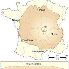 Olympus Mons (Mars) compared with France and with Earth's highest mountains. ➖ Olympus Mons (Latin for Mount Olympus) is a very large shield volcano on the planet Mars. By one measure, it has a height of nearly 22 km (13.6 mi). Olympus Mons stands about two and a half times as tall as Mount Everest's height above sea level. It is currently the largest volcano discovered in the Solar System. ➖ Two impact craters on Olympus Mons have been assigned provisional names by the International…