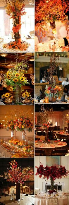 Autumn wedding table decorations need fall head table ideas tall fall wedding centerpieces ideas love the one with the branches with votives hanging from it junglespirit Gallery