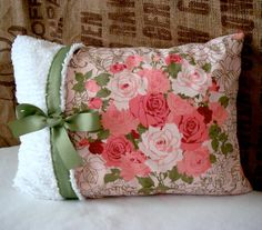 Shabby Chic Vintage Pillow Cover by Forever Lovely Design on Etsy