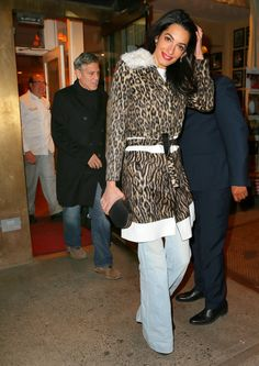ffd675f1c914 In a Giambattista Valli coat while having dinner out with George Clooney in  New York City