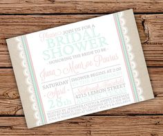 Burlap and Lace Bridal Shower Invitation by JulsNewbrough on Etsy,