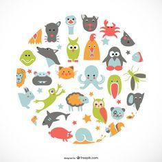 Animals flat icons design Free Vector