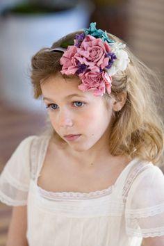 Flower head piece for a child by Sally Hambleton. Photo by Elia Sills Photography. www.sallyhambleton.com
