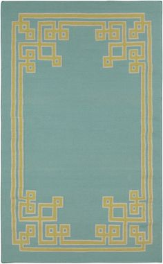 Hand woven flat weave wool rug from the Alameda Collection by Surya, part of @Lacefield Designs line. Sky blue background with fern green pattern pops! (AMD-1010)
